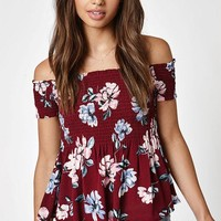 DCCKJH6 Kendall and Kylie Smocked Babydoll Top