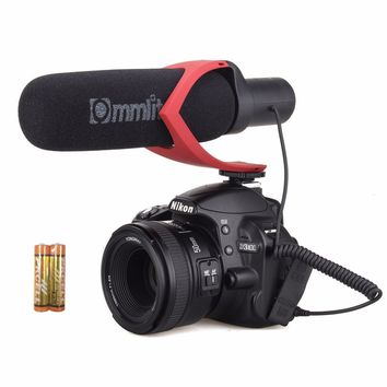 EACHSHOT CoMica Electrit Super-Cardioid Directional Condenser Shotgun Video Microphone Mic for Video and Interview with Nikon Canon Sony Camera, Camcorder (3.5mm Jack) (AA battery included) Red