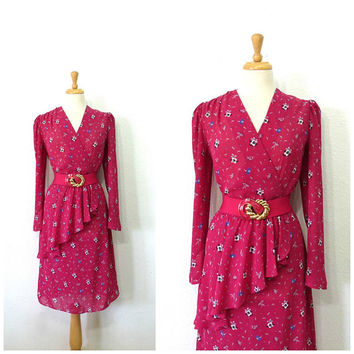 80s vintage dress, Plum Fower print Wrap dress Charlee Allison for Eljay Knee Length Party dress Size 13/14