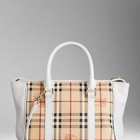 Medium Haymarket Check and Leather Tote Bag