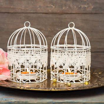Set of 2 - French Shabby Wedding Wire Bird Cages Metal Tealight Candle Holder - Hanging Lanterns