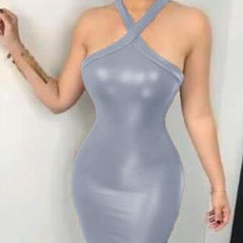 New Grey PU Leather Cut Out Halter Neck Backless Bodycon Latex Rubber Mini Dress