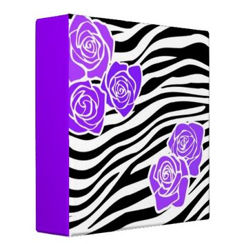 Black and white Zebra pattern + purple roses 3 Ring Binders