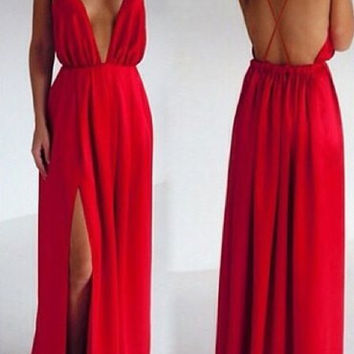 Red Backless Slit Side Spaghetti Strap Dress