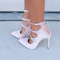 Blush Miami Midnight Triple Buckle Velvet Heels