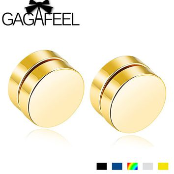 GAGAFEEL Magnetic Round Stud earrings For Men Women Fashion Stainless Steel Magnet Ear Jewelry Don't Need Ear Canal 5 Color