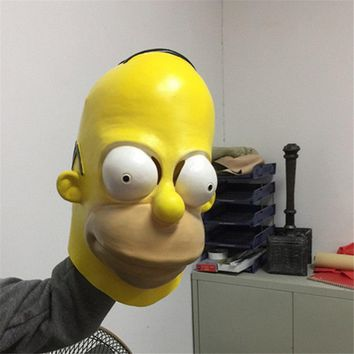 Funny The Simpsons Latex Full Face Mask For Halloween Party Costume Cosplay Mask Masquerade Adult Children Masks