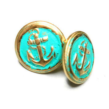 Antique gold patina turquoise green sailor anchor by zurdokero