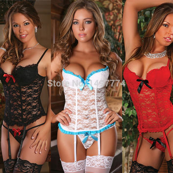 2015 Lace Bustier and G String Set Plus Size Sexy Lingerie Black/Red/White Lace Corset