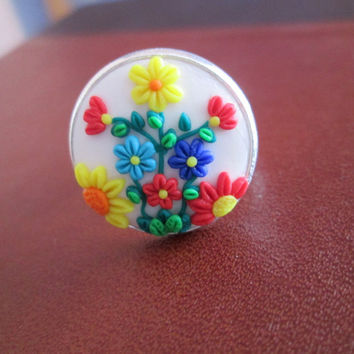 white polymer clay adjustable ring,colorful rings,spring ring,floral ring,vintage cameo ring,flower ring,boho jewelry,gift ideas for mom