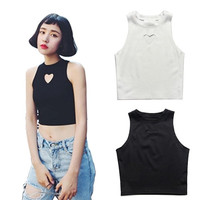 Women Summer Fashion Heart Cut Crop Top Short Cami Tank Tops Sexy Party Club Tee = 5660778497