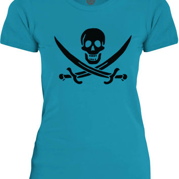 Big Texas Pirate Swords (Black) Womens Fine Jersey T-Shirt
