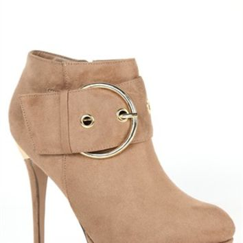 Suede Small Platform Bootie with Gold Buckle and Upper Heel