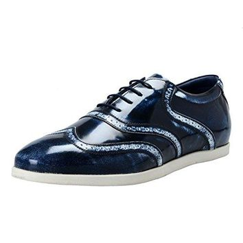 Versace Collection Men's Blue Leather Lace Up Wing Tip Shoes US 11 IT 44