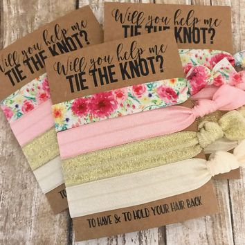 Bridesmaid Proposal Set | Will you help me Tie the Knot?| Hair Tie Favors | To have & to hold your hair back