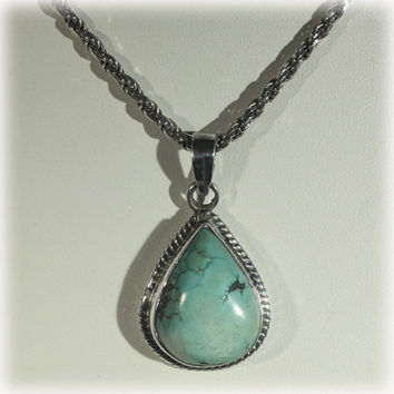 Turquoise Pendant, Sterling Pendant, Sterling Chain, Southwest Jewelry, Teardrop Turquoise