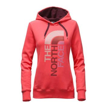 The North Face Trivert Logo Pullover Hoodie for Women in Melon Red NF00CH2W-LHU