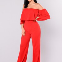 Lee Flounce Jumpsuit - Red