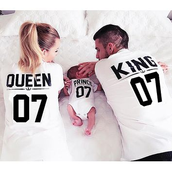 HOT Family King Queen Letter Print Shirt,100% Cotton tshirt Mother father Son Clothes Matching Tops