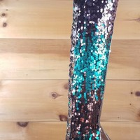C&C Pewter Multi Color Sequin Pointy Toe Lace Up Above Knee High Heel Thigh Boot