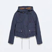 TECHNICAL FABRIC SHORT JACKET WITH POCKETS