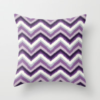 Ikat Chevron: Purple Tonal  Throw Pillow by Eileen Paulino