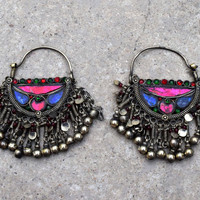 Afghan Kuchi Earring,Crescent Tribal Earring,Kuchi Jewelry,Bohemian Earring,Antique Ethnic Earring,Hippie,Belly Dancing,Boho Gypsy Earrings
