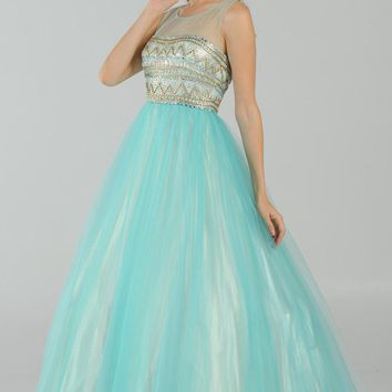 Scoop Neck Embellished Bodice Tulle A-line Ball Gown in Aqua/Nude