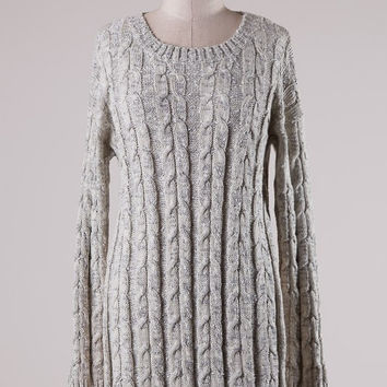 Cable Knit High Side Slits Tunic Sweater - Taupe