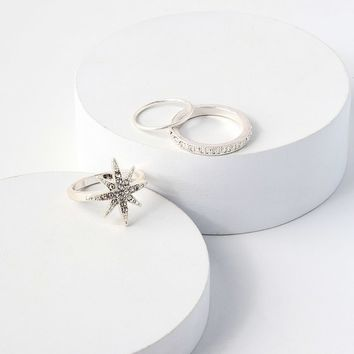Illustrious Silver Rhinestone Ring Set