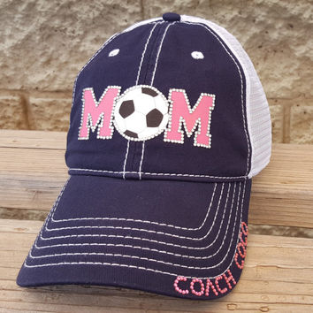 Soccer mom hat, hot pink soccer mom, navy trucker hat, rhinestones soccer ball and soccer coach personalization. Perfect soccer coach gift