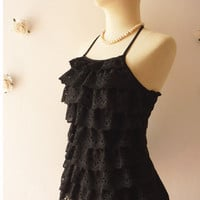 Lace Summer Blouse Sexy Black Lace Halter Top Summer Beach Party Black Lace -Size S-M