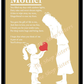 Mother and Daughter Mother's Day Poem Heart by TheShopSisters