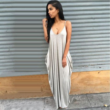 Sexy Summer Long Maxi Evening Dress with Pockets