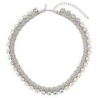 Mesh and Rhinestone Rope Necklace - Clear