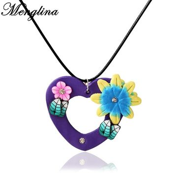 Menglina Fashion Purple Hollow Heart Fimo Polymer Clay Pendant Necklace For Women Leather Rope Choker Necklace Love Gift 70710