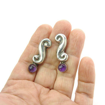 Amethyst Sterling Silver Earrings Early Mexican Repousse S Scrolls Purple Gemstone Cabochons Screw Backs Vintage 1930s 1940s Mexico Jewelry