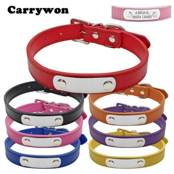 Carrywon Pets Dog Cat Anti-lost Leather ID Collars Engraving Text on Stainless Steel Pet Name Tags Free Customized Address Board