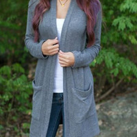 Gray Big Pockets Long Cardigan