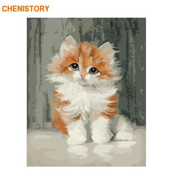 CHENISTORY Frameless Picture Yellow Cat Animals DIY Painting By Numbers Wall Art Canvas Painting Home Wall Artwork 40x50cm Decor