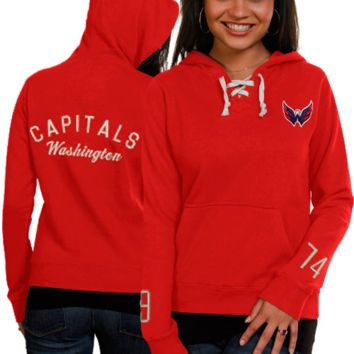 Washington Capitals Old Time Hockey Women's Queensboro Lace-Up Slim Fit Hooded Sweatshirt - Red