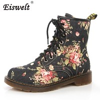EISWELT Woman Martin Boots Fashion Flower Shoes Lace Up Motorcycle Oxfords Flats Ankle Boots For Women#ZQS193