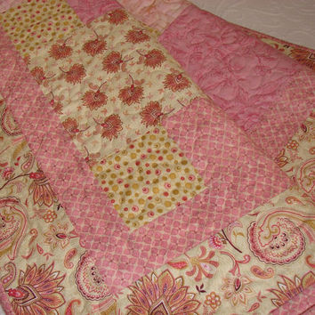 Lap Quilt or Throw Blanket Romantic Feminine Patchwork in Rosy Pink and Soft Golden Yellow