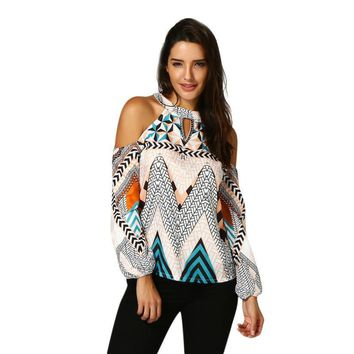 good quality Women Geometry Printed Blouse Off The Shoulder Retro Long Sleeve Tops Cut Out Keyhole Back Shirt Blusa #BF