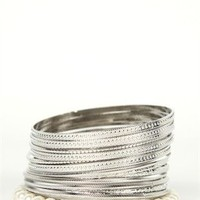 Plus Size Bangle Set with Pearls, Stones and Textured Metal.