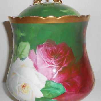 Coronet Limoges Biscuit Cookie Jar Artist Signed A. Bronssillon Creamer Sugar Bowl Ca. 1900 Tea Roses Hand Painted