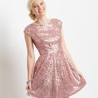 Glitz Sequined Cap-Sleeve Dress