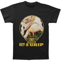 Aerosmith Men's  Get A Grip Circle T-shirt Black Rockabilia