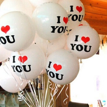 Essential Good Quality 10pcs/lot Romantic 12 inch Pearl Balloon I LOVE YOU Balloons Christmas Wedding Decorations = 1931884100