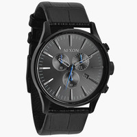 Nixon The Sentry Chrono Leather Watch Black Gator One Size For Men 24407710001